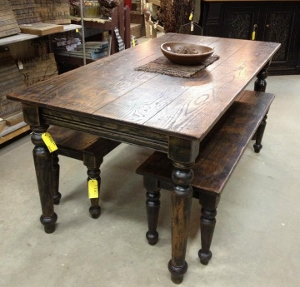 Dark finish farm table